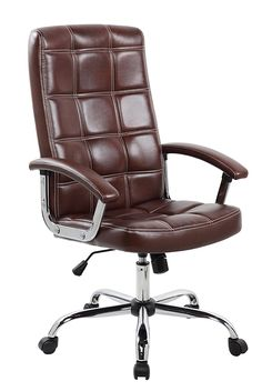 United Seating Executive Mid-back Grey PU & PVC Leather Office Chair with Thick Padded Back & Seat with Chrome Base, Brown