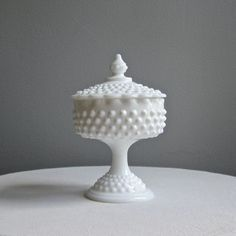 Hobnail Milk Glass Footed Candy Dish