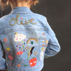 8820cbe5 Customised denim jacket by Petra Boase using their patches and embroidery  Kids denim jacket Embroidery On