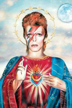 Saint David Bowie Art Print Illustration Portrait by DirtyLola Aladdin Sane, Arte Coral, Mayor Tom, Pop Art, Ziggy Played Guitar, David Bowie Art, David Bowie Quotes, Geniale Tattoos, American Gothic