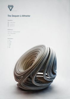 "Digital Art: ""The Dequan Li"" from ""Math:Rules - Strange Attractors"", mathematical shapes on white background 