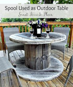Sweet Parrish Place: Wooden Spool as Patio Table- Back Deck Tour