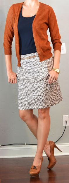 Outfit Posts: outfit post: giraffe pencil skirt, navy tank, rust cardigan but oh do I love the shoes ❤️ Fall Outfits, Casual Outfits, Cute Outfits, Fashion Outfits, Womens Fashion, Office Fashion, Work Fashion, Fashion Looks, Rust Cardigan