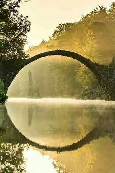 landscape park Kromlau Gablenz Saxony Germany Rakokbruecke Rakok bridge