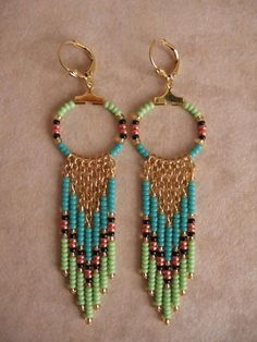 Seed Bead Hoop Earrings Aqua/Lime Green by pattimacs on Etsy, $16.00