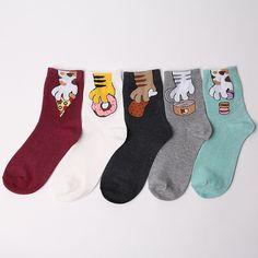 STRAY CAT NOVELTY CARTOON SOCKS 5 pairs=1pack women girl cute MADE IN KOREA | Clothing, Shoes & Accessories, Women's Clothing, Hosiery & Socks | eBay!