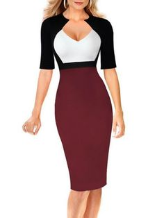 Color Block Awesome V Neck Bodycon Dress #ClothingOnline #PlusSizeWomensClothing #CheapClothing #FashionClothing #womenswear #sexydress #womensdress #womenfashioncasual #womensfashionforwork  #fashion #womensfashionwinter