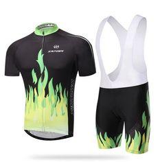 Men's Green Fire Short Sleeve Cycling Jersey Set #Cycling #CyclingGear #CyclingJersey #CyclingJerseySet