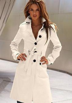 White Plain Belt Single Breasted Trench Coat