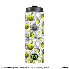 Modern Monogram Lime Green Pickleballs Thermal Tumbler