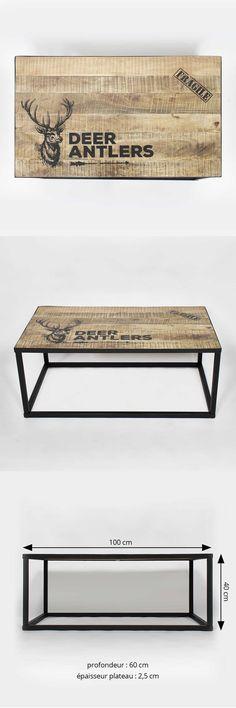 """#Table #Basse #industrielle en bois et acier noir avec pochoir """"cerf"""""""