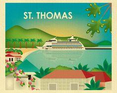 St. Thomas Skyline Print St. Thomas Wall Art St. by LoosePetals