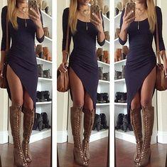 Irregular Short-Sleeved Bodycon Dress