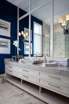 Bathroom thick marble countertop. Large bathroom vanity with thick marble…