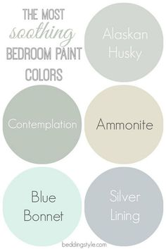 Interior Design Ideas - Soothing Bedroom Paint Colors: Alaskan Husky 1479 Benjamin Moore. Contemplation Behr. Ammonite Farrow and Ball. Blue Bonnet Benjamin Moore. Silver Lining Benjamin Moore. Via Bedding Style.