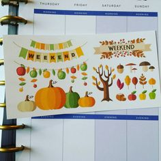 Fall Planner Sticker Set   The stickers are printed on matte adhesive paper and machine cut for neat results Custom sizes can be made All items