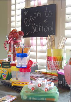 Back to School party ideas and inspiration for teachers and parents - Have to scroll through a lot but there are some cute ideas for decor
