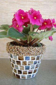 mosaic flower pot by Marie Lloyd Mosaic Planters, Mosaic Flower Pots, Mosaic Garden, Tile Crafts, Mosaic Crafts, Mosaic Projects, Mosaic Diy, Mosaic Glass, Mosaic Ideas