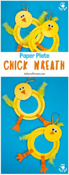 This Paper Plate Chick Wreath Craft is a perfect Spring craft or Easter craft for kids! This chick craft is very easy and looks so cute hanging on the door! Paper plate crafts are so fun! via crafts wreath Paper Plate Chick Wreath Paper Plate Crafts For Kids, Easy Easter Crafts, Easter Art, Crafts For Teens To Make, Spring Crafts For Kids, Preschool Crafts, Fun Crafts, Easter Crafts For Preschoolers, Fun Arts And Crafts