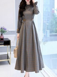 Women's Party Going out Casual Maxi Swing Dress - Check Patchwork Stand Fall Cotton Gray L XL XXL / Loose - Herren- und Damenmode - Kleidung Cheap Maxi Dresses, Trendy Dresses, Casual Dresses, Fashion Dresses, Womens Swing Dress, Maxi Robes, Hijab Styles, Mode Hijab, Winter Dresses