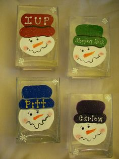 Personalized Snowman Glass Candleholder by SandycraftsOnline, $15.00