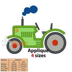 TRACTOR embroidery design, applique design - INSTANT DOWNLOAD - 4 sizes