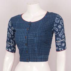 Buy Online Blouses Crop Tops - Hand Block Printed Indigo Cotton Blouse With Regular Sleeve 10026015 - Size 40 - back - AVISHYA.COM