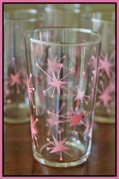 Mid century pink atomic glass