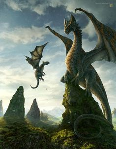 Beautiful queen dragon and her young hatchling!  http://www.pinterest.com/drewb23/dragons/