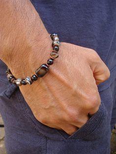 Men's Good Fortune Bracelet with Semi Precious Onyx, Filigree Antique Copper - Bohemian Man Bracelet
