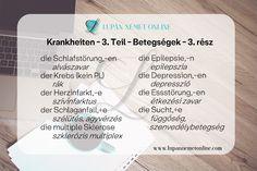 Szókincs :: Lupán Német Online German Language Learning, Personalized Items, Heart Attack, Epilepsy, Multiple Sclerosis, Learn German