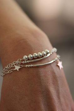 Bracelet multi rangs en argent perles et étoiles