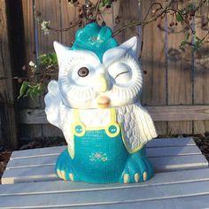 1970's Vintage Hard to Find White & Blue Vintage Winking Waving Wise Owl Cookie Jar i Overalls / California Originals Kitsch Kitchen Decor by ShowMeShabby on Etsy