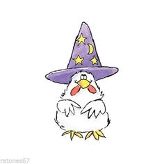 Feathered Witch - Penny Black, Inc. Halloween Cartoons, Halloween Doodle, Halloween Clipart, Halloween Rocks, Halloween Prints, Halloween Pictures, Cute Halloween, Chicken Halloween, Chicken Hats