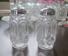 Vintage LE Smith or Wright Crystal Moon Stars Glass Salt Pepper Set HTF Elegant