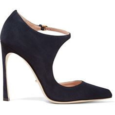 Sergio Rossi Dali suede pumps ($325) ❤ liked on Polyvore featuring shoes, pumps, midnight blue, pointy toe pumps, pointy toe ankle strap pumps, suede pointed toe pumps, high heel pumps and buckle shoes
