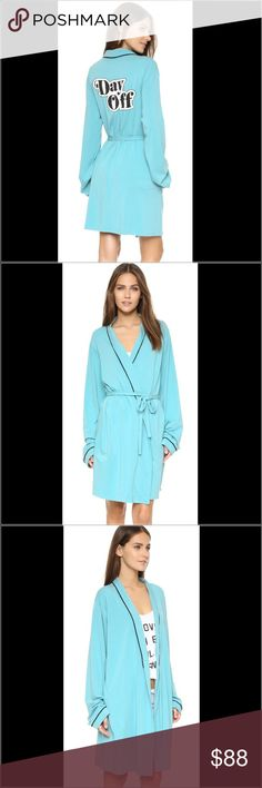 Sale! Wildfox NWT Day Off Robe A soft jersey Wildfox robe with tonal piping. Attached self-belt with pleating and 'Day Off' script at the back. On-seam hip pockets. Long sleeves. Model wearing size 2. Size for sale size 2. Sold out style! Last one available here on sale!!   Fabric:  46% cotton/46% modal/8% spandex. Made in the USA.  Measurements Length: 33in / 84cm, from shoulder Wildfox Intimates & Sleepwear Robes