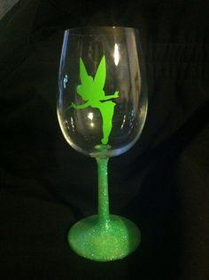 Tinkerbell glittered stemmed wine glass by GirlMeetsGinger on Etsy