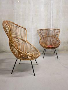 Zeldzame Rohe vintage rotan lounge chairs Franco Albini style. www.bestwelhip.nl