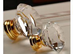 Clear Glass Cabinet Knobs Dresser Knob Crystal Drawer Knobs Pulls Handles Sparkle / Kitchen Cabinet Knobs Pull Handle Hardware Diamond Cut Knob Silver