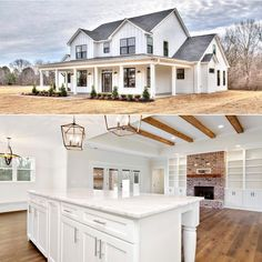 Wrap around porch Perfectly Placed Gables Open interior with beautiful details Yet another gorgeous rendition of adhouseplans Modern Farmhouse Exterior, Farmhouse Plans, Craftsman Farmhouse, Building A Porch, Building A House, House With Porch, My House, Farm House, Architectural Design House Plans