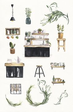 House Illustration, Watercolor Illustration, Watercolor Paintings, Kitchen Clipart, House Clipart, Kitchen Interior, Kitchen Decor, Cozy House, Decoration