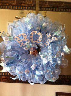 Baby Boy Wreath/ Boy Deco Mesh Wreath/ Baby by Wreaths4u2byPaula