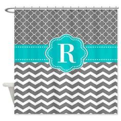 Gray Teal Blue Trellis Chevron Personalized Monogram Fabric Shower Curtain