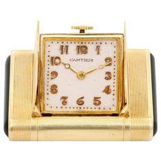 Cartier Yellow Gold Black Enamel Vintage Art Deco Manual Shutter Watch For Sale