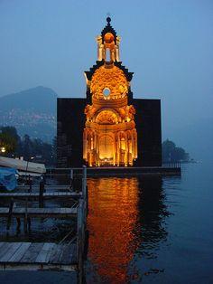 Lugano - Switzerland : wooden model of Borromini's Church of San Carlo Alle Quattro Fontane in Rome - by architect Mario Botta, 1999-2003