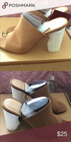 6778fec9c0f Open toe backless heels Open toe tan backless heels. Clear heel. No box.