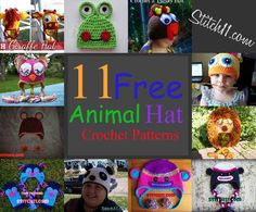 Craft+Passions:+Collection OF+11+FREE+ANIMAL+ HAT+CROCHET+PATTERN+...
