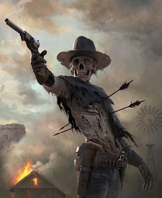 Looking for some awesome zombie drawings & concept art? Get inspired & discover how to draw a zombie for yourself. Fantasy Kunst, Fantasy Art, Digital Art Fantasy, Fantasy Paintings, Westerns, Skulduggery Pleasant, Arte Horror, Le Far West, Western Art