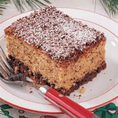Chocolate Chip Snack Cake Recipe -Instant pudding mix and cake mix cut the preparation time for this delicious cake that is loaded with grated chocolate chips. I often make it for weekend guests and work luncheons. It always goes over well.